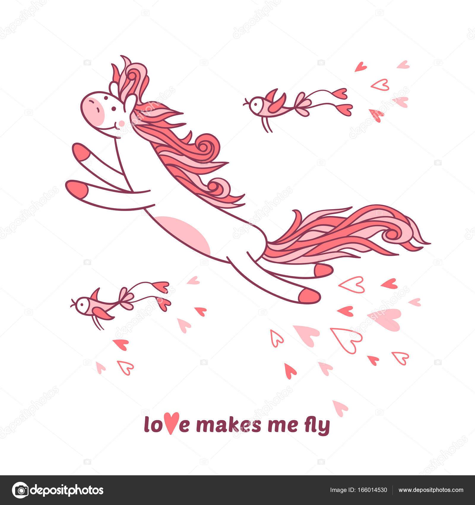Pony Und Lustige Vogel Fliegen In Den Himmel Stockvektor C Ana P