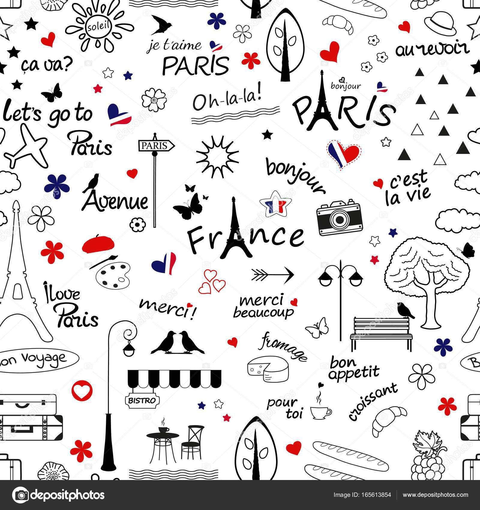 Seamless Pattern With Symbols Of France Stock Vector Rodicabruma