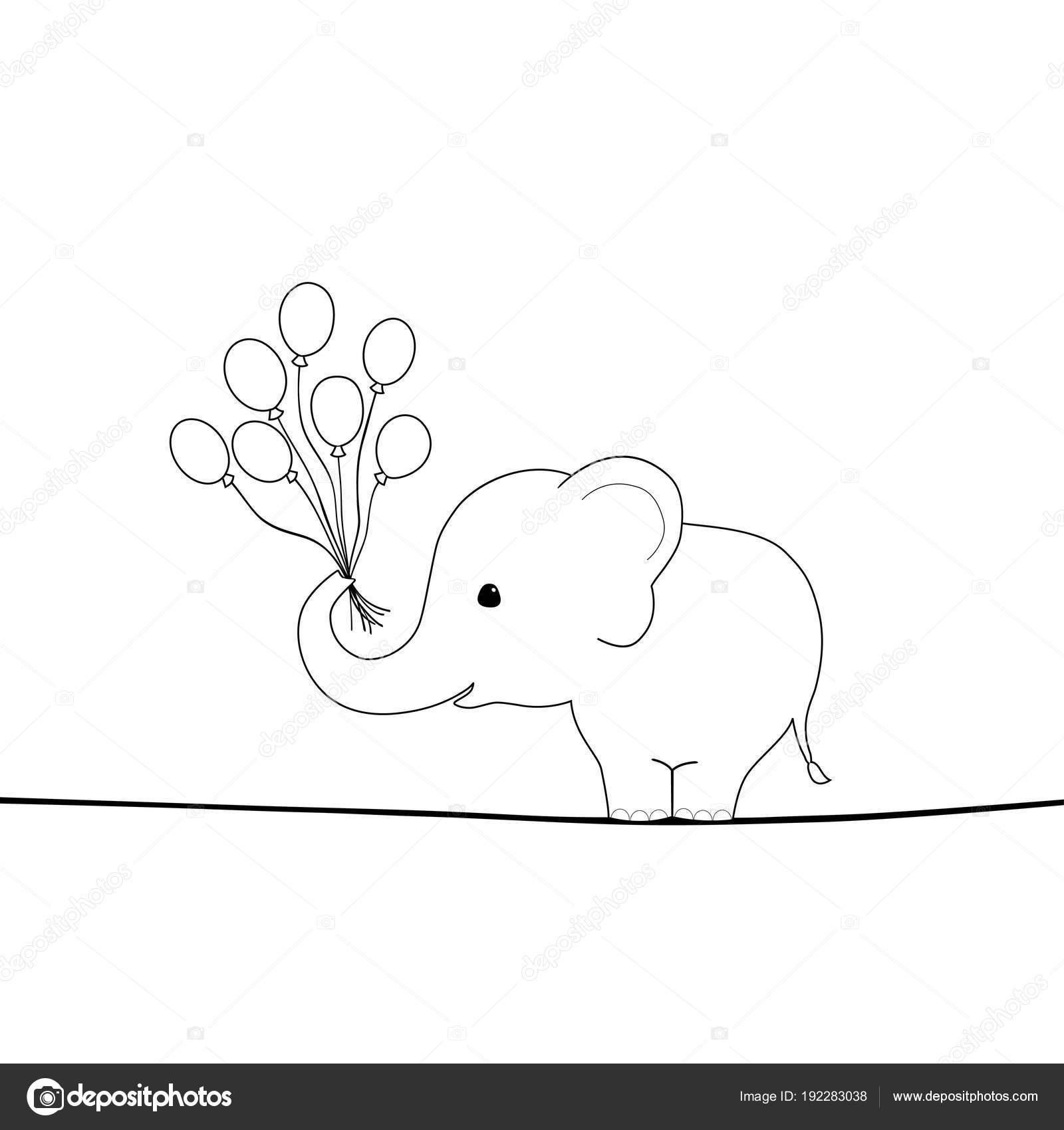 niedlichen elefanten mit luftballons auf einem draht