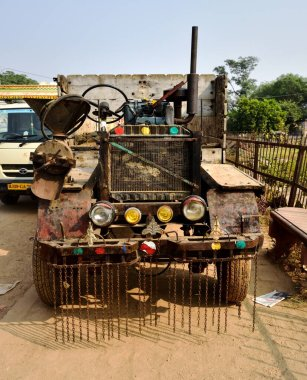 Abhaneri, India - 8th November 2019:Heath robinson looking tractor on the roadside