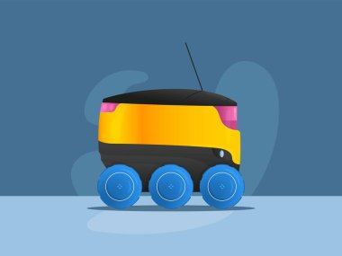 Safe no contact product robotic delivery carrier. Unmanned auto vehicle with six wheels and antenna to carry packages to customer isolated vector image. Innovative technologies in retail and shipment.