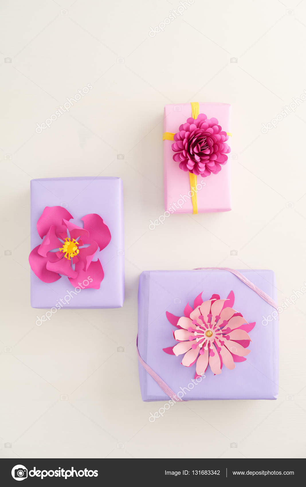 Paper Flower Gift Boxes Stock Photo Ecoelfen 131683342