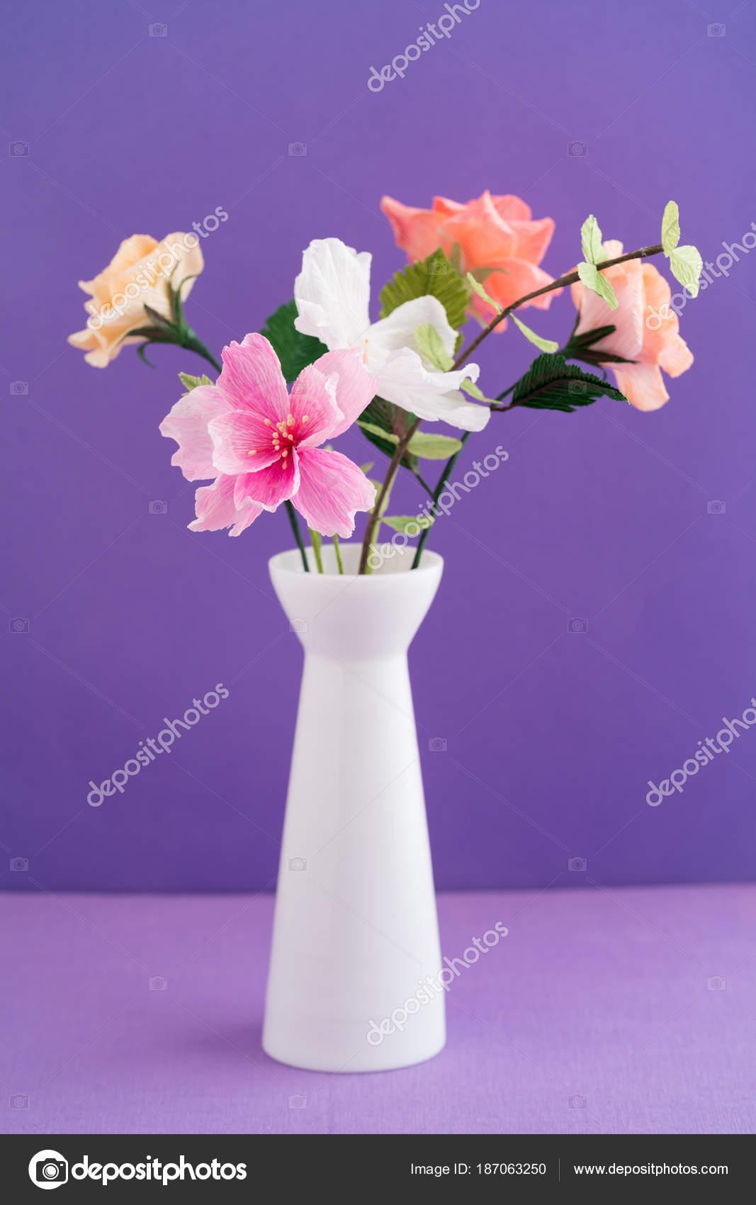 Crepe paper flower bouquet stock photo ecoelfen 187063250 crepe paper flower bouquet with cosmos roses and eucalyptus in a vase on purple photo by ecoelfen izmirmasajfo