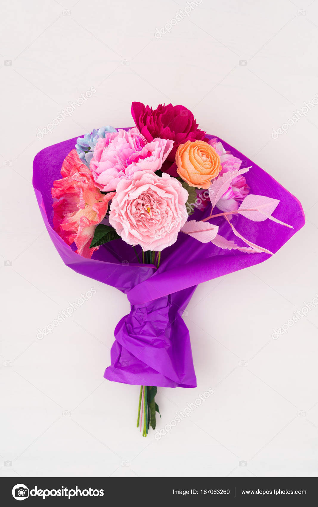 Crepe paper flower bouquet stock photo ecoelfen 187063260 crepe paper flower bouquet with peonies sweet peas poppies ranunculus roses and dahlia wrapped in tissue paper photo by ecoelfen izmirmasajfo