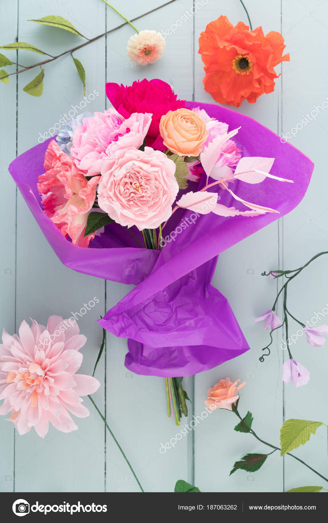 Crepe Paper Flower Bouquet Stock Photo Ecoelfen 187063262