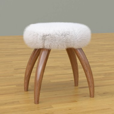Wooden stool with fur, 3D rendering