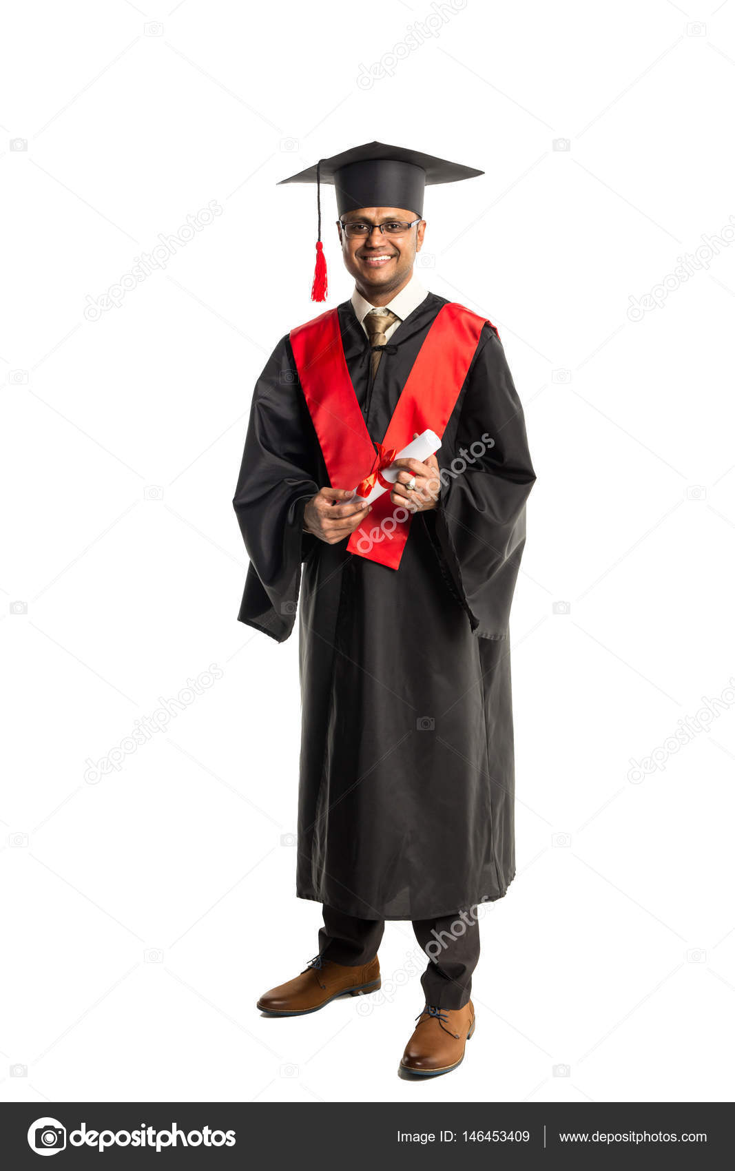 Male african american graduate in gown and cap — Stock Photo ...