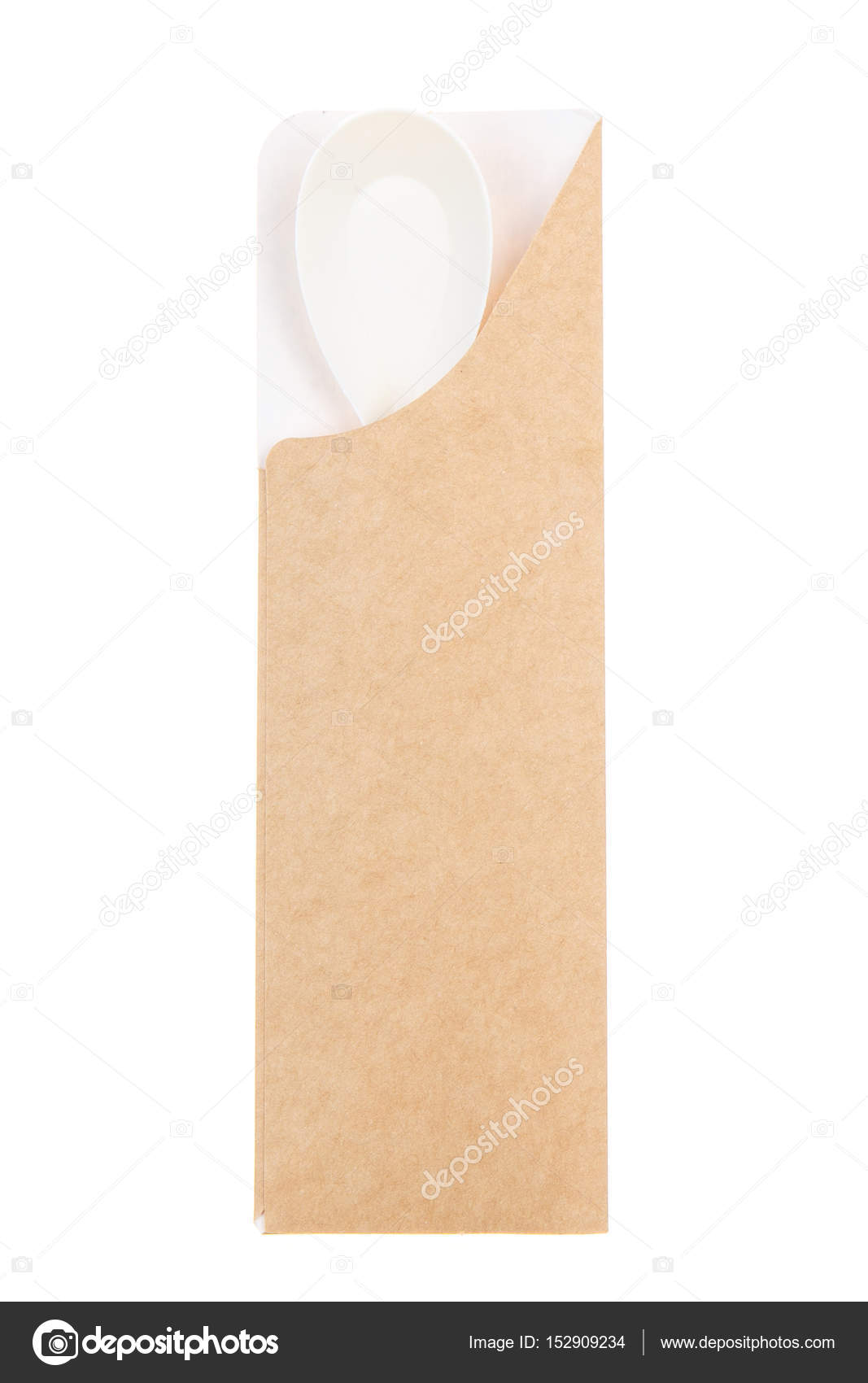 Plastic Spoon Packaging From Recycled Paper Stock Photo