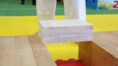 Martial artists breaks the wooden boards