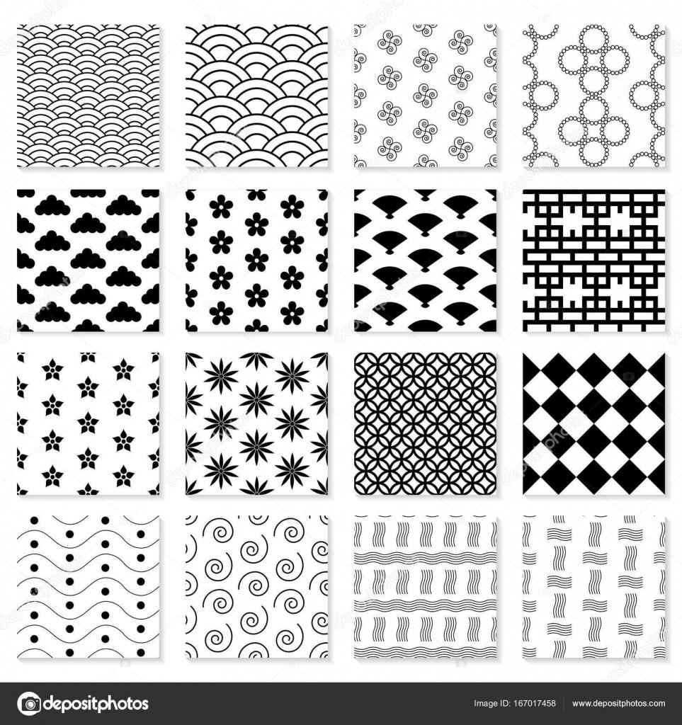 Colección de patrones japoneses sin costura — Vector de stock ...