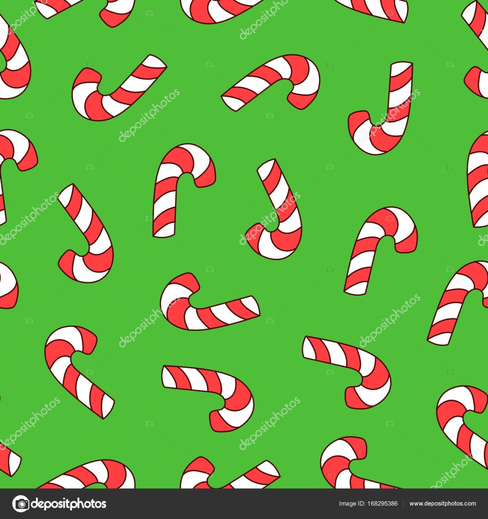 Seamless Pattern With Christmas Lollipop Vector Texture For Wallpaper Or Wrapping Pape Stock