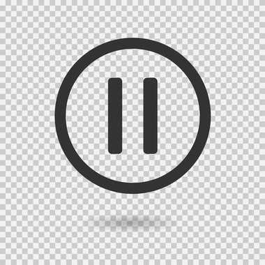 Pause icon with shadow. Vector button for web or app