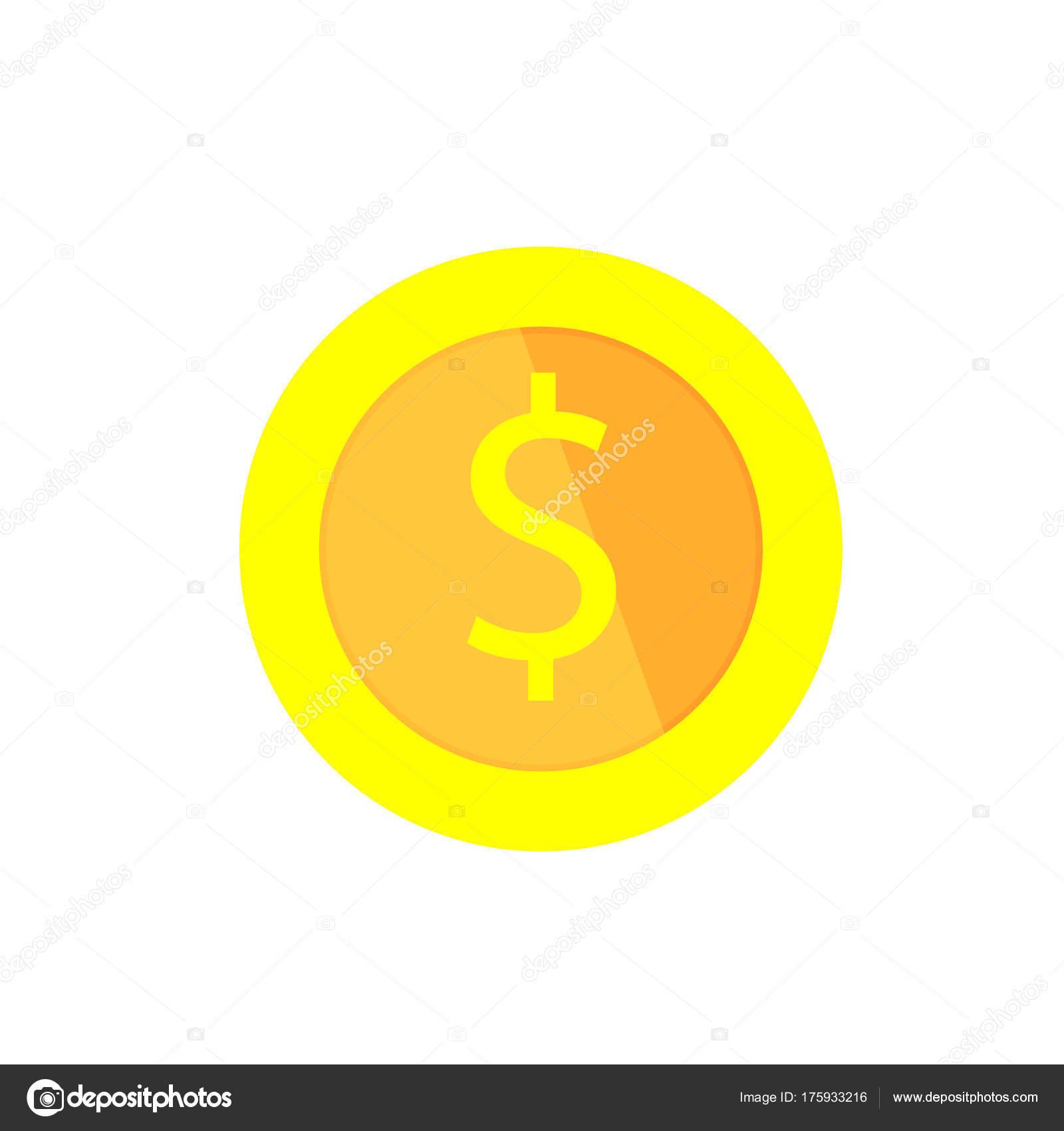Vector gold coin  Flat illustration  Dollar sign  Cartoon