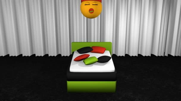 flying emoticon with sleeping cap and pacifier