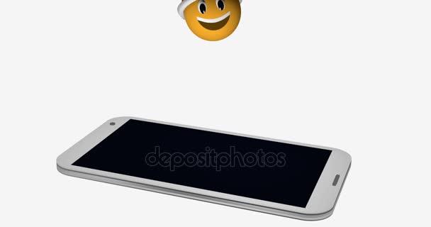 Smajlík s Santa hat na displeji mobilního telefonu. 3D vykreslování