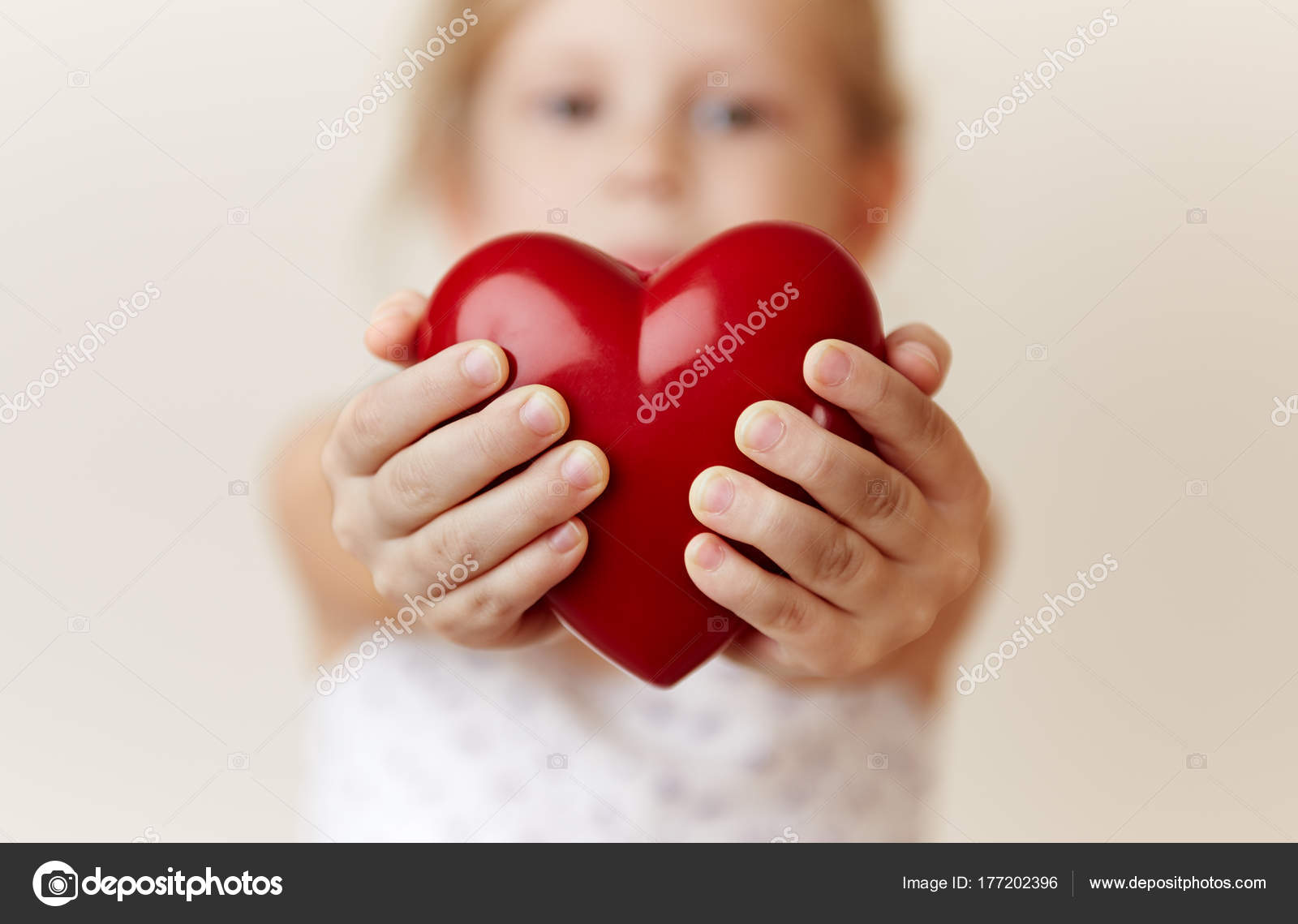 Close Little Girl Holding Heart Her Hands Concept Help Care ...