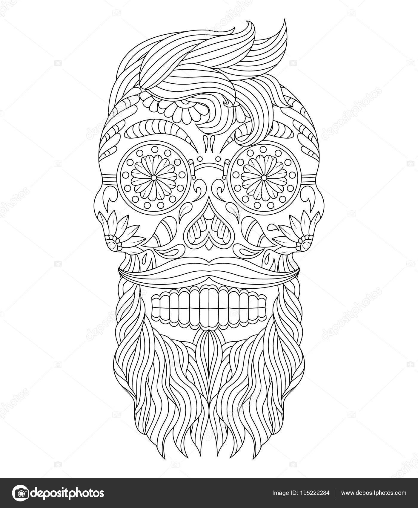 Cráneo Azúcar Mexicano Elaborado Con Pelo Bigote Marca Elementos ...