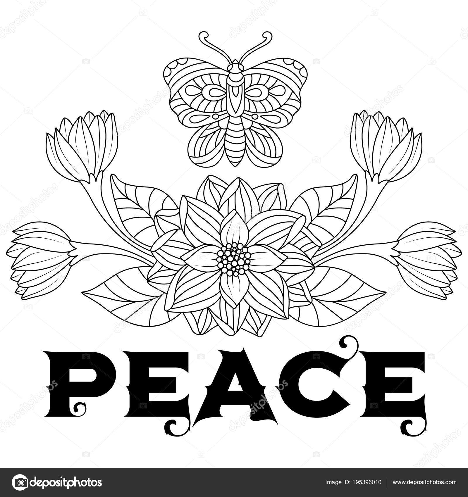 Hand Drawn Butterflies Flowers Peace Text Stress Coloring Page ...