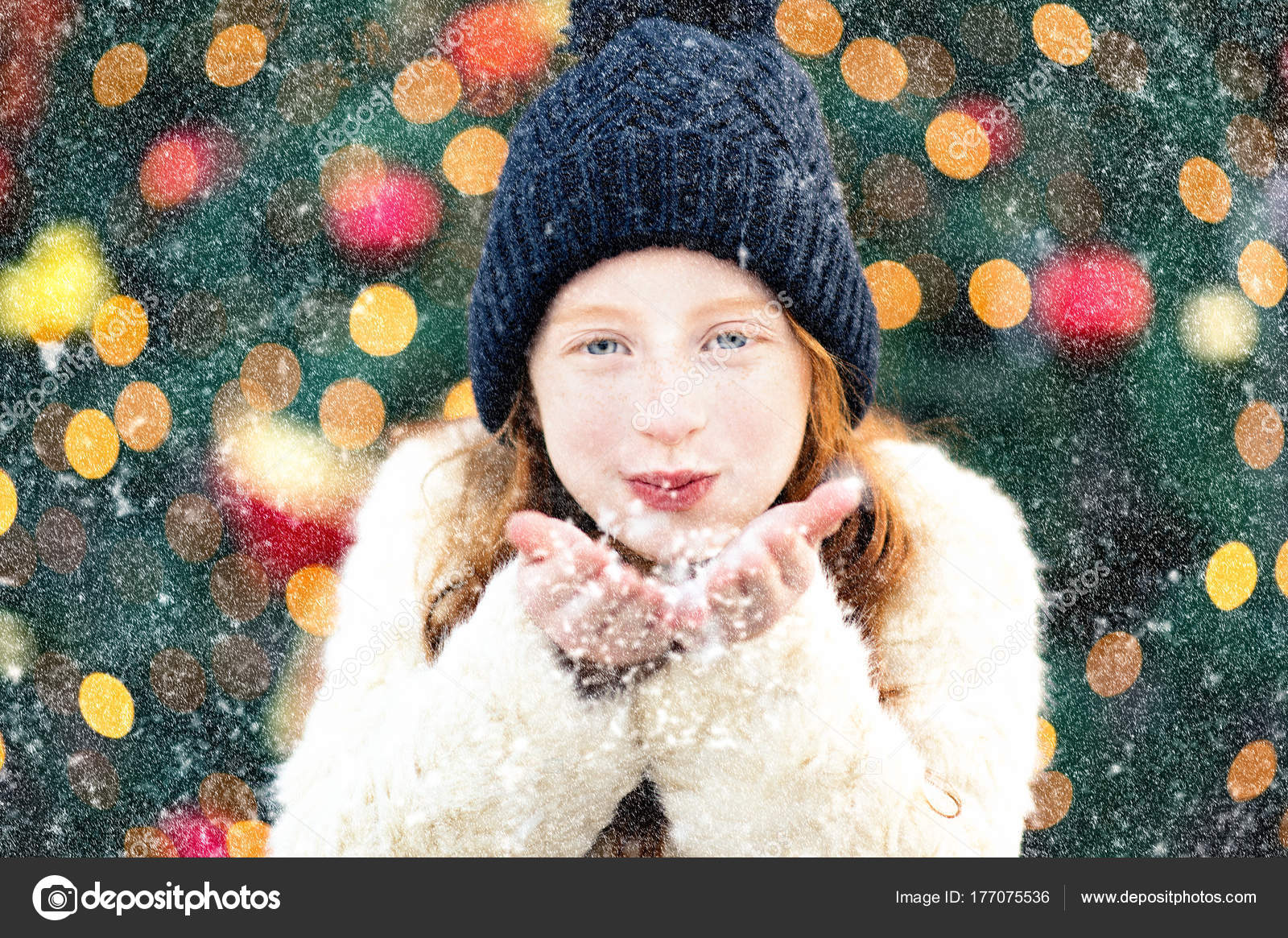 bb1e5c6376e9 Happy Child Blowing Snow Portrait Red Haired Little Girl Wearing ...
