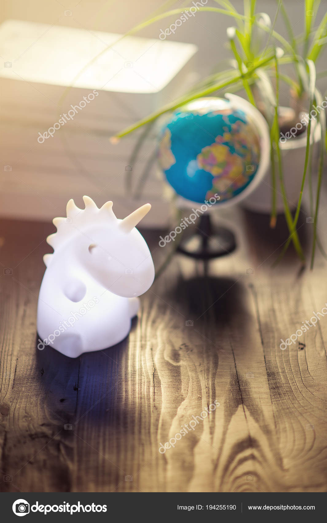 Unicorn Shape Table Lamp Illuminated Stock Photo C Allasimacheva