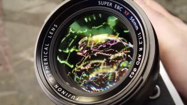 die Fujifilm-Linse mit Bokeh-Lichtreflexion