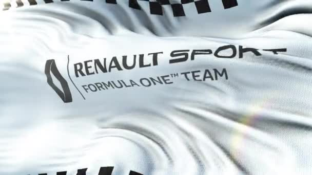 Renault F1 mávání vlajkami na slunci. Bezešvá smyčka s vysoce detailní textilie textura. Smyčka připravené v rozlišení 4 k
