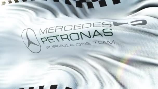 Mercedes Petronas F1 mávání vlajkami na slunci. Bezešvá smyčka s detailní textilie textura. Smyčka připravené v rozlišení 4 k