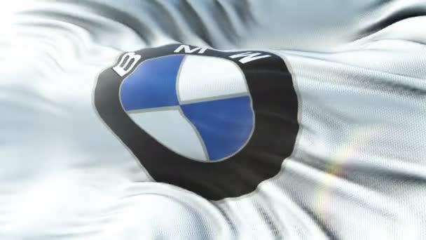 BMW mávání vlajkami na slunci. Bezešvá smyčka s vysoce detailní textilie textura. Smyčka připravené v rozlišení 4 k.