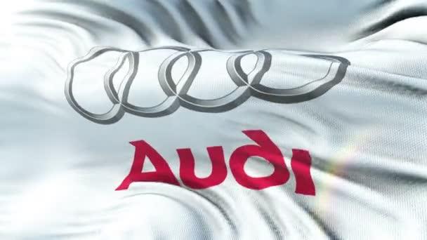Audi vlajka mávala na slunci. Bezešvá smyčka s vysoce detailní textilie textura. Smyčka připravené v rozlišení 4 k