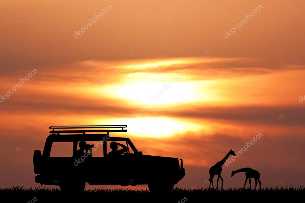 jeep safari at sunset