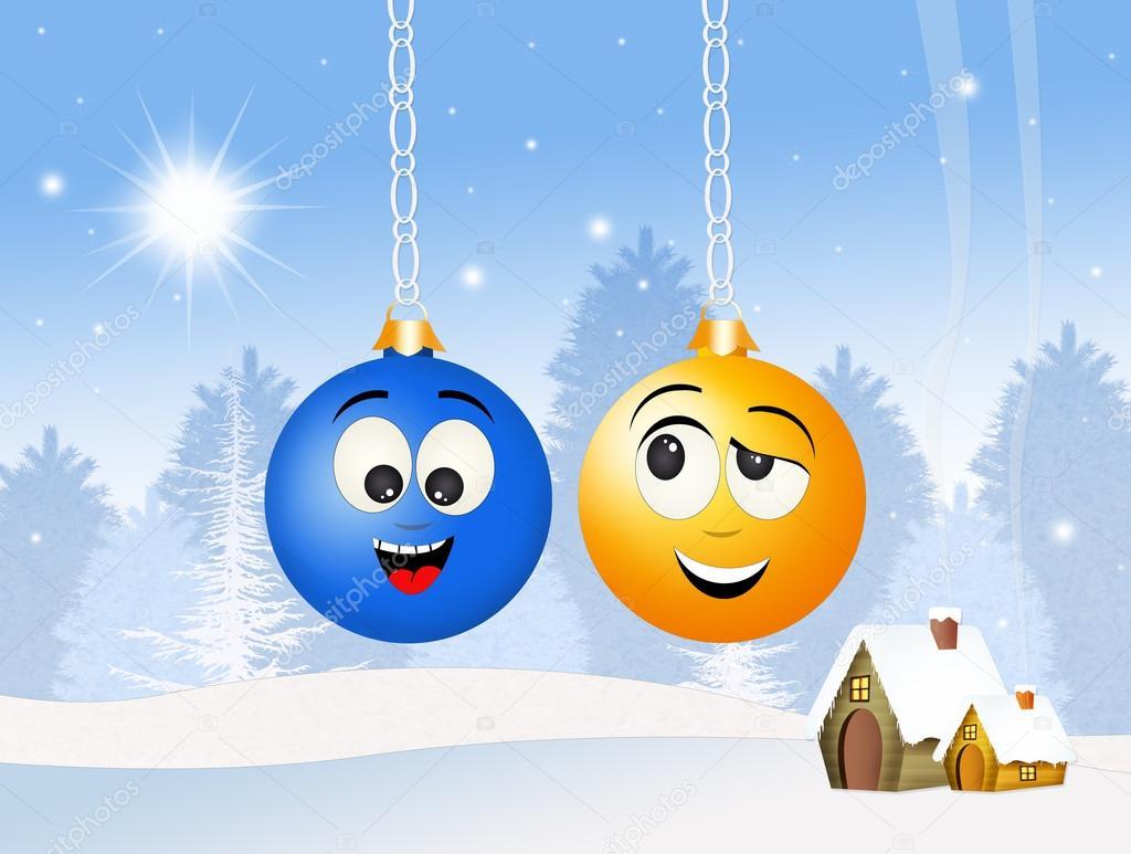 Lustige Weihnachtskugeln.Lustige Weihnachtskugel Stockfoto Adrenalina 125191738