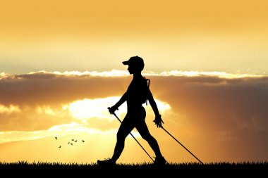 nordic walking at sunset