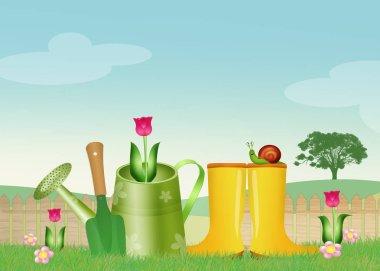 illustration of garden objects
