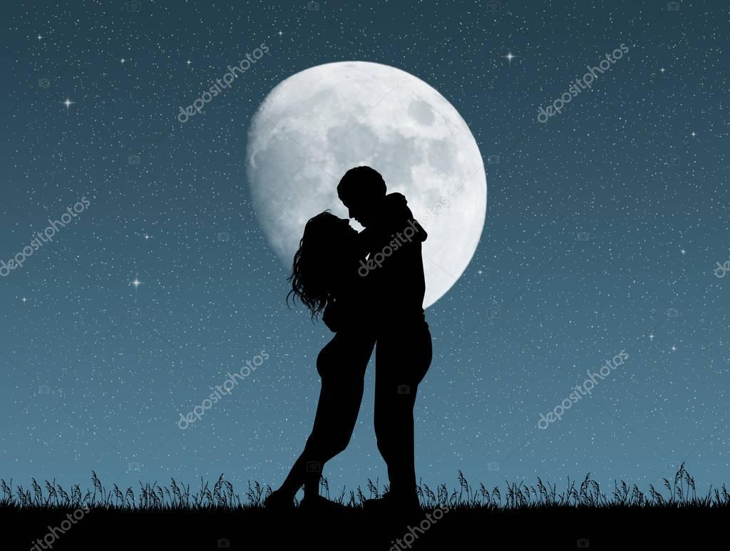 Baiser au clair de lune — Photo