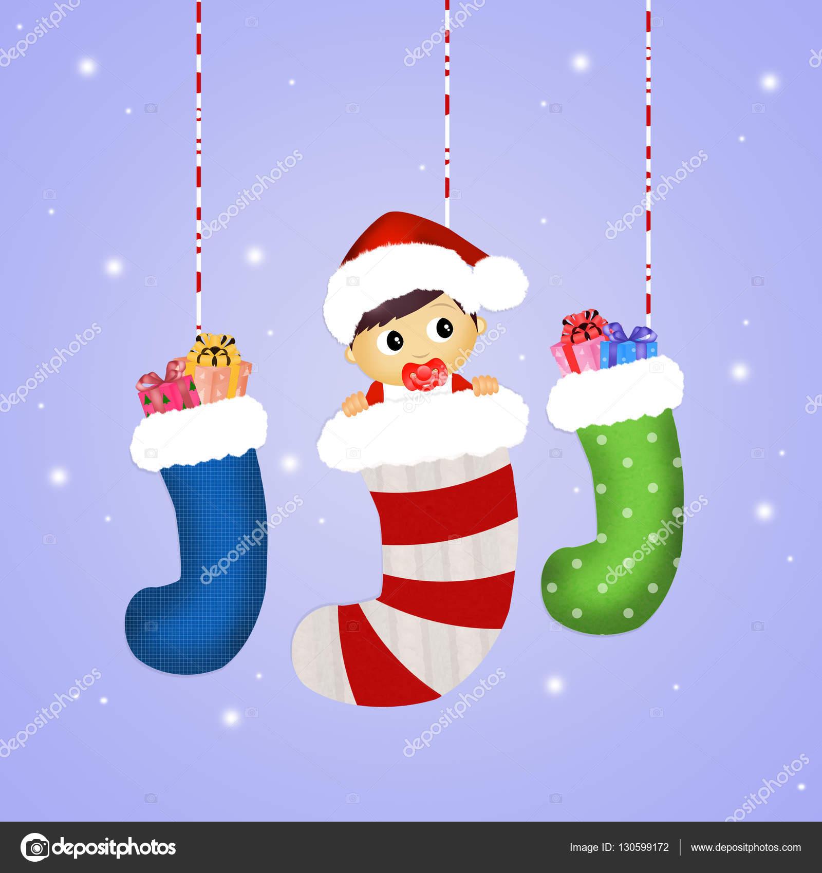 baby in Christmas socks — Stock © adrenalina