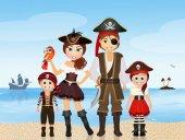 Pirát rodina na ostrově