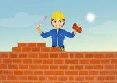 zedník staví zeď