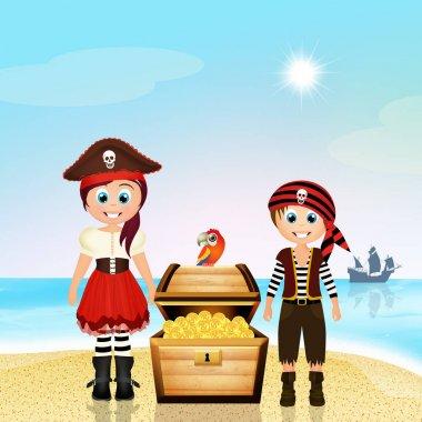illustration of pirate children