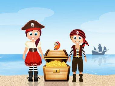 pirate children with trasure