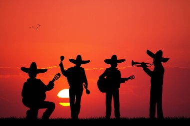 Mariachi band at sunset