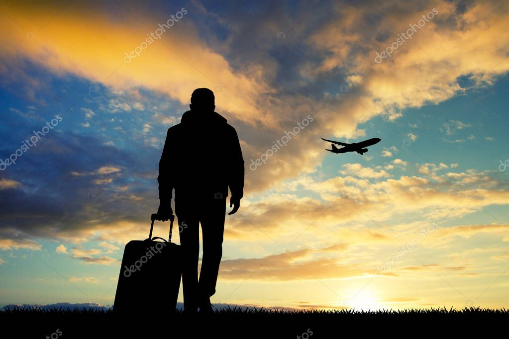 man with travel suitcase