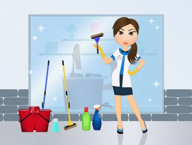 illustration of window cleaner