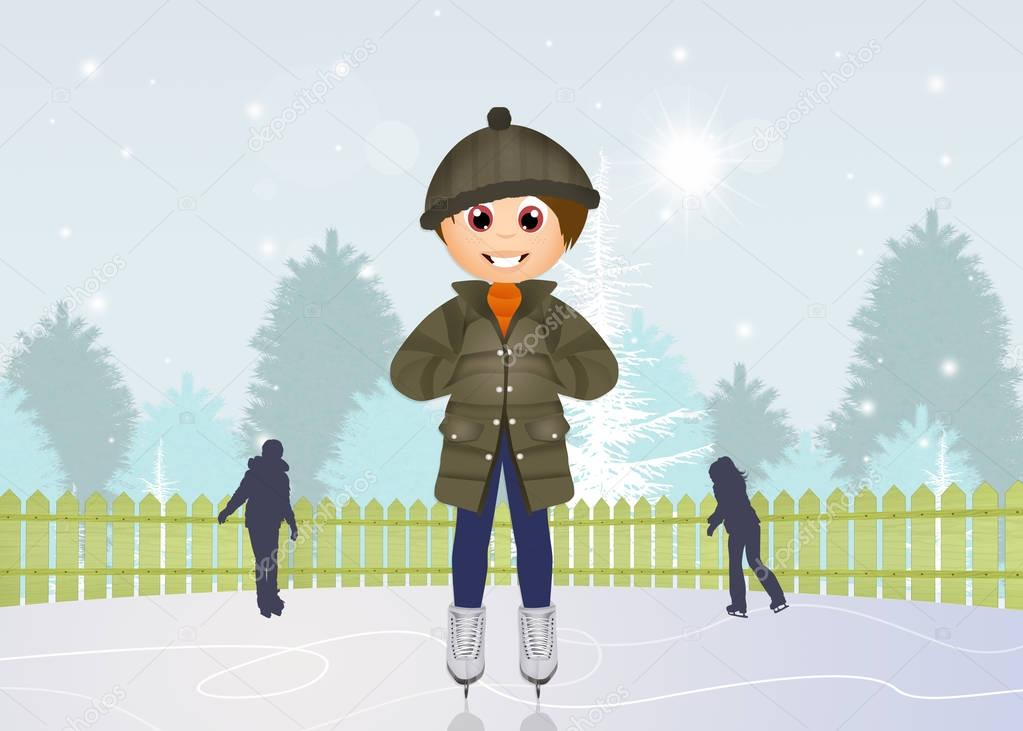 child skating on ice