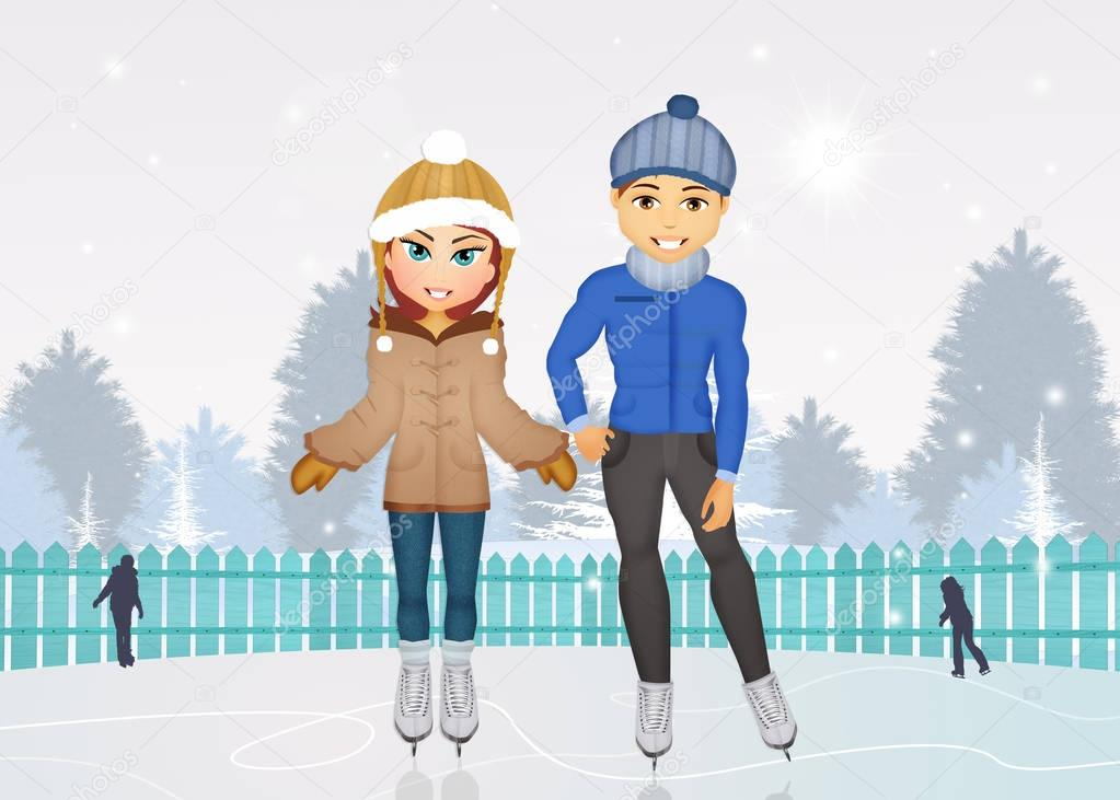 man and woman skating on ice