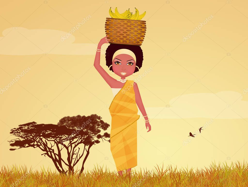 African woman with bananas  in African landscape