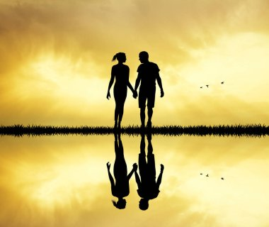 lovers couple at sunset