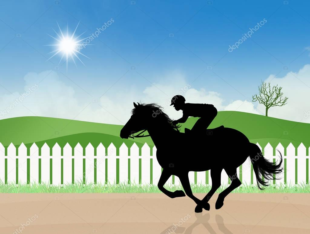 illustration of Horse racing