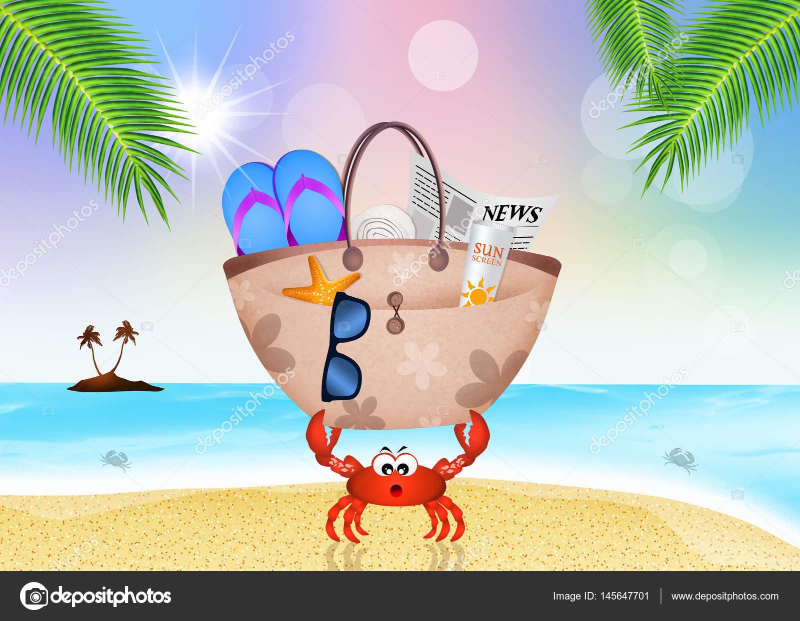Caranguejo com bolsa de praia — Stock Photo © adrenalina  145647701 0ac93937bef