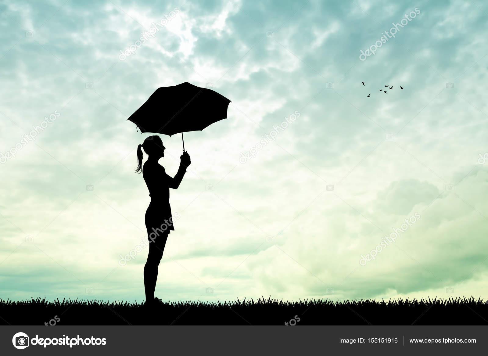 Mädchen Mit Schirm Im Regen Stockfoto Adrenalina 155151916