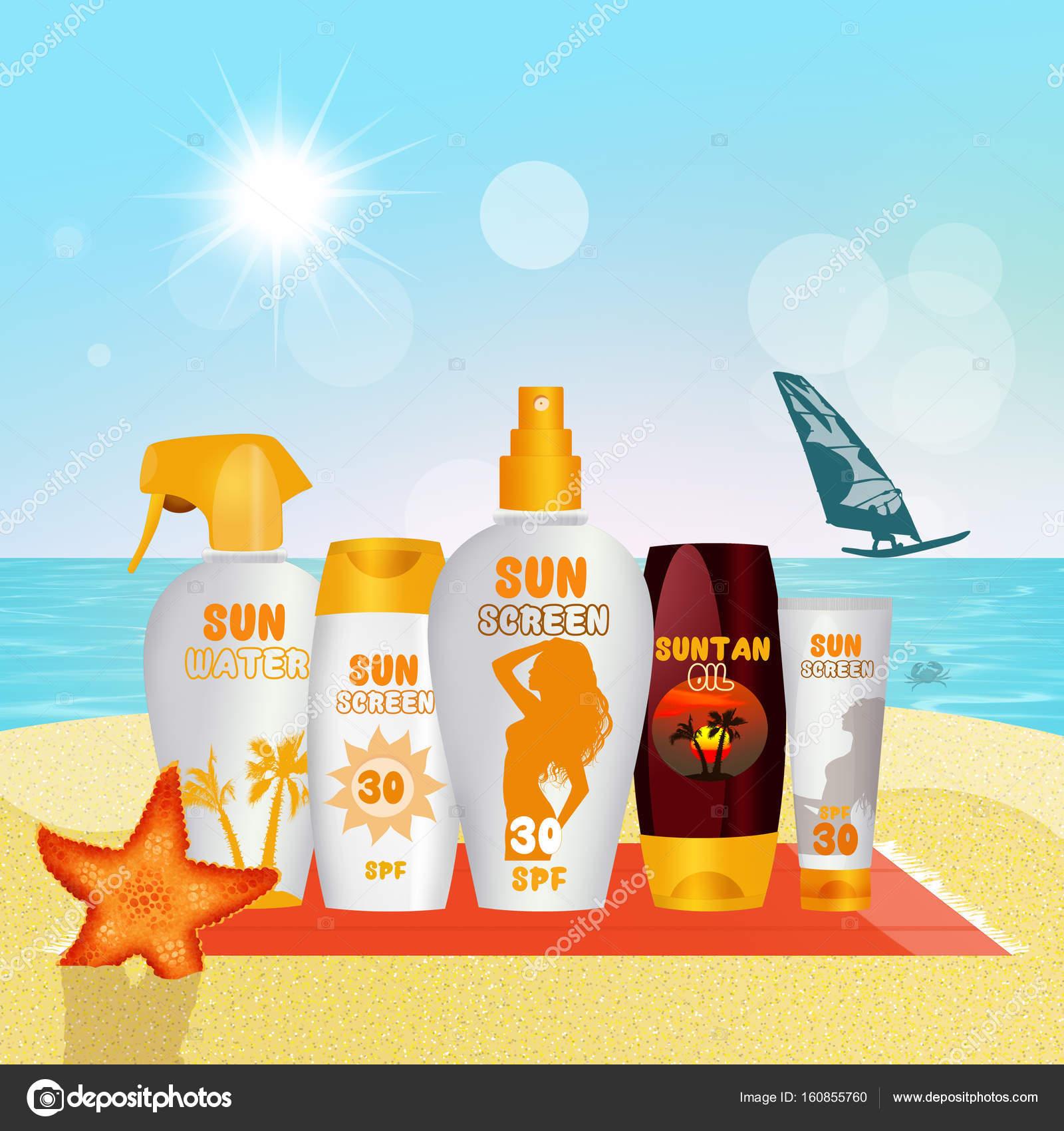 80255375fd6d26 Zonnebrandcrème bezet met bescherming tegen de zon crème, lotion en water  zonne- — Stockfoto